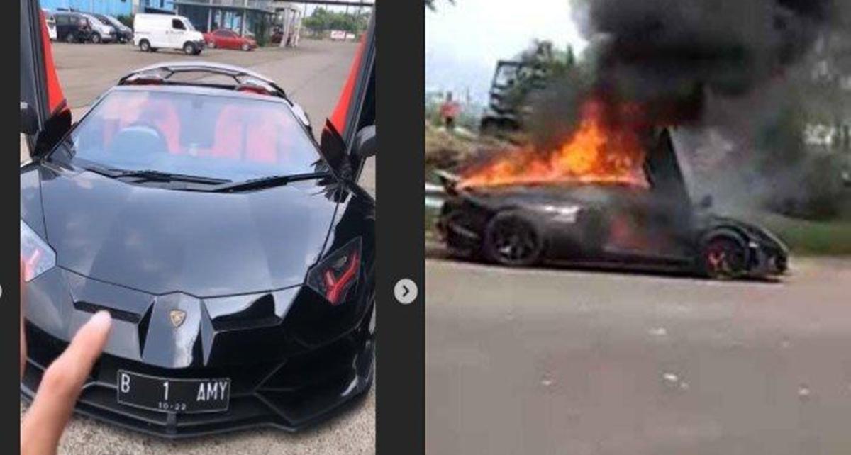 Lamborghini yang Diduga Milik Raffi Ahmad Terbakar